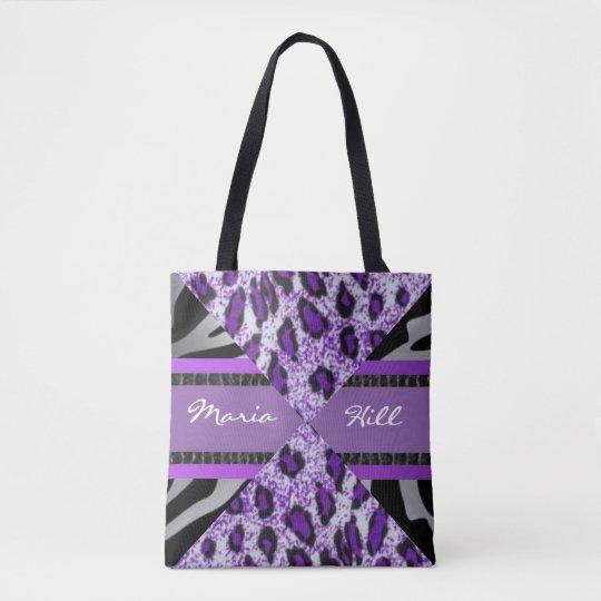 Purple Black Leopard Tiger Typography Tote Bag