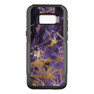 Purple Black Marble Faux Gold Glitter Pattern OtterBox Commuter Samsung Galaxy S8+ Case