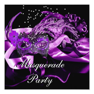Purple Black Masks Masquerade Ball Party Card