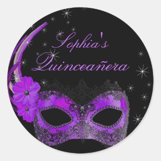 Purple & Black Masquerade Quinceanera Sticker