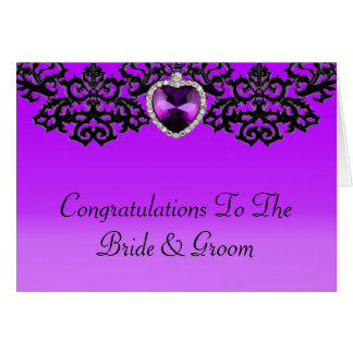Purple & Black Ornate Heart Pendant Wedding Card