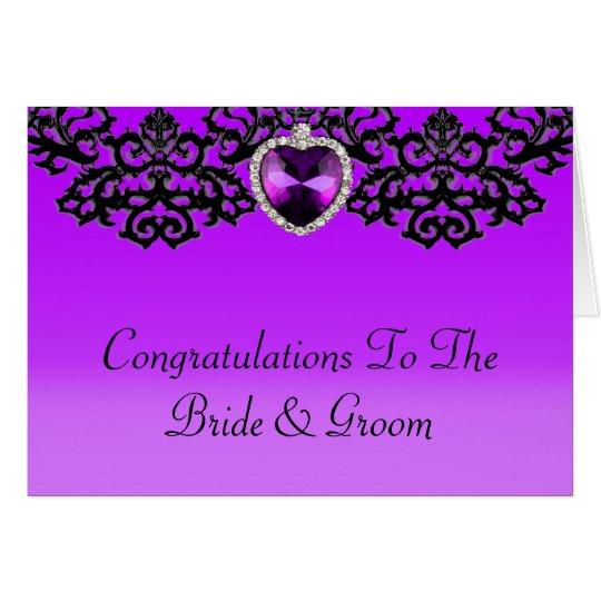 Purple & Black Ornate Heart Pendant Wedding Card