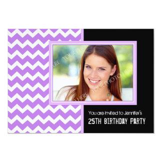"Purple Black Photo 25th Birthday Party Invitations 5"" X 7"" Invitation Card"