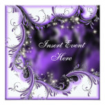 "Purple black quinceanera ""sweet 16"" party invitations"