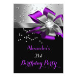 Purple Black Silver Bow Pearl Birthday Party 13 Cm X 18 Cm Invitation Card