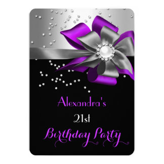 Purple Black Silver Bow Pearl Birthday Party 13 Cm X 18 Cm Invitation Card