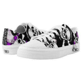 Purple Black Skull Metal Low Tops
