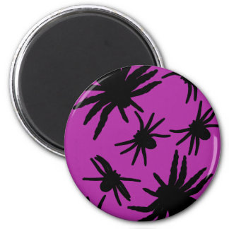 Purple / Black Spiders 6 Cm Round Magnet