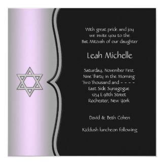 Purple Black Star of David Bat Mitzvah Card