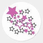 purple black stars round sticker