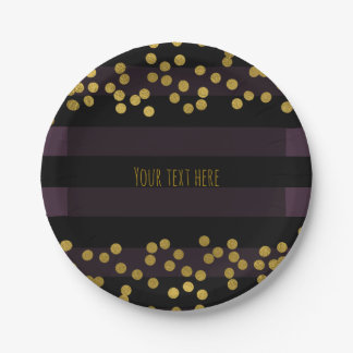 Purple & Black Stripes Gold Faux Foil Dots 7 Inch Paper Plate