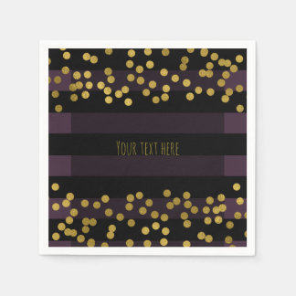 Purple & Black Stripes Gold Faux Foil Dots Disposable Serviettes