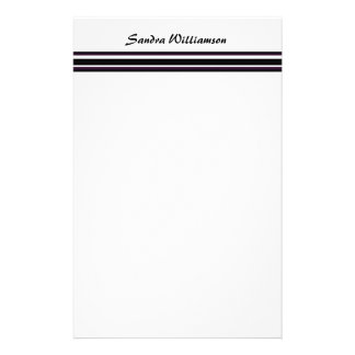 purple black stripes stationery