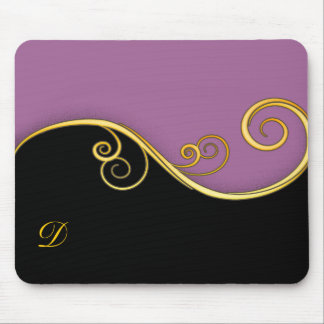 Purple-black Swirl with Initial Mouse Pads