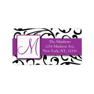 Purple, Black Swirls Damask Avery Address Labels