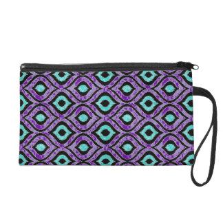 Purple, Black, Teal Zigzag Abstract Print Wristlet