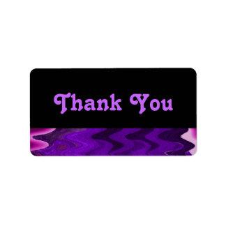 purple black thank you label