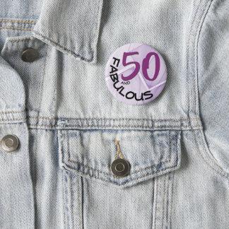 Purple & Black Type | 50th Birthday 6 Cm Round Badge