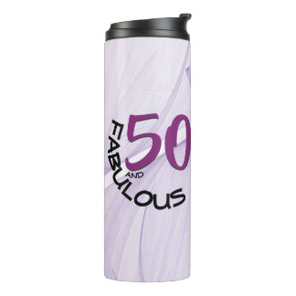 Purple & Black Typography 50 and Fabulous Birthday Thermal Tumbler