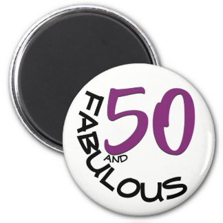 Purple & Black Typography | 50th Birthday Magnet