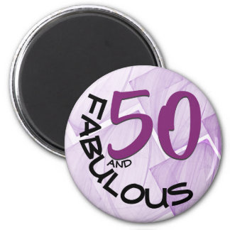 Purple & Black Typography | 50th Birthday Magnet
