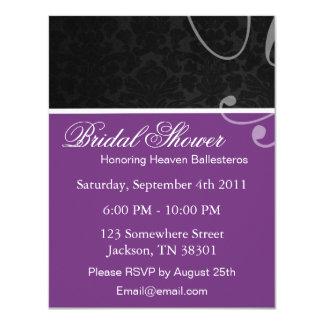 Purple & Black Vintage Bridal Shower Invitations