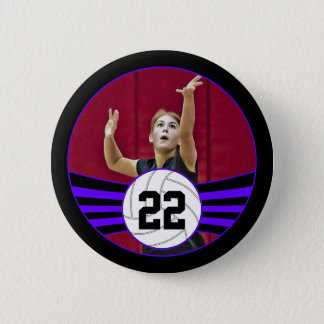 Purple & Black Volleyball Photo and Jersey Number 6 Cm Round Badge
