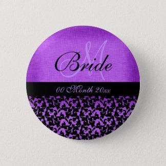 Purple black wedding bride floral damask 6 cm round badge