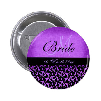 Purple black wedding bride floral damask 6 cm round badge