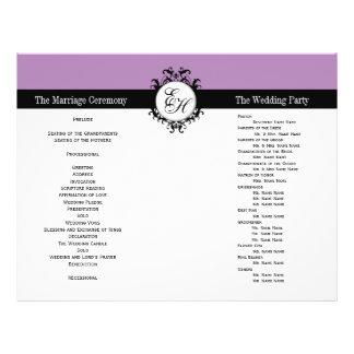 Purple Black Wedding Program Chic Monogrammed 21.5 Cm X 28 Cm Flyer