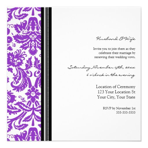 Purple Black Wedding Vow Renewal Invitation