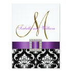Purple Black White Damask Initial Wedding Invite