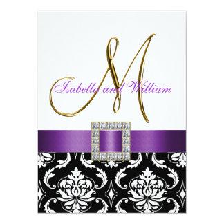 Purple Black White Damask Initial Wedding Invite