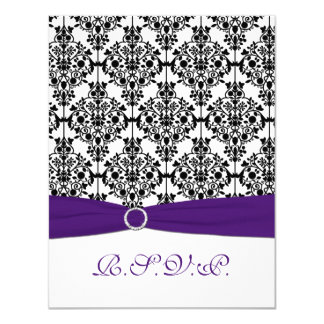 Purple, Black, White Damask RSVP Card 11 Cm X 14 Cm Invitation Card