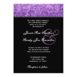 Purple Black White Damask Wedding Ver 003 Personalised Invites