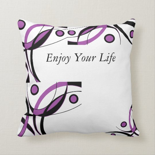 Purple Black White Design Cushion