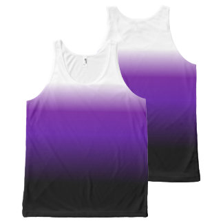 Purple Black White Ombre All-Over Print Tank Top