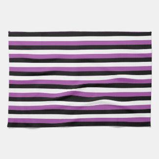 Purple Black White Stripes Tea Towels