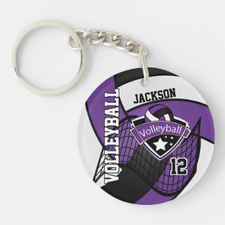 Purple, Black & White Volleyball Design Key Ring