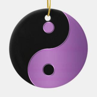 Purple Black Yin-Yang Harmony Holiday Ornament