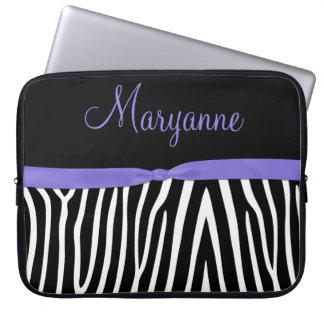 Purple Black Zebra Purple Ribbon Monogram Laptop Sleeve