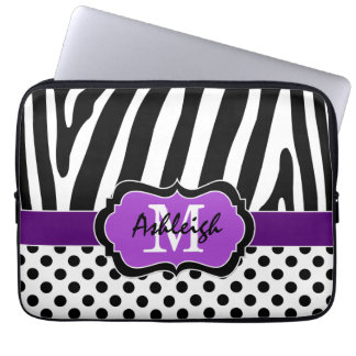 Purple Black Zebra Stripes Polka Dots Laptop Case