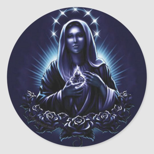 Purple Blessed Virgin Mary and Roses Classic Round