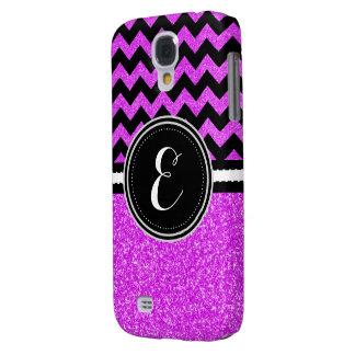Purple Bling Glitter and Chevron Personalized Case