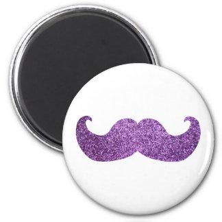 Purple Bling mustache (Faux Glitter Graphic) 6 Cm Round Magnet