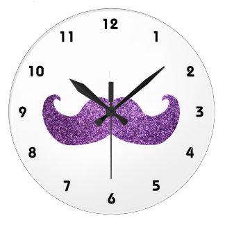 Purple Bling mustache (Faux Glitter Graphic) Clocks