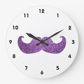 Purple Bling mustache (Faux Glitter Graphic) Large Clock