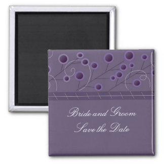 Purple Bliss Floral Save the Date Square Magnet