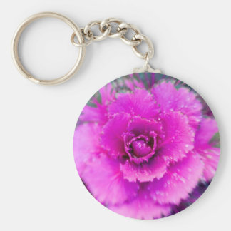Purple bloom basic round button key ring