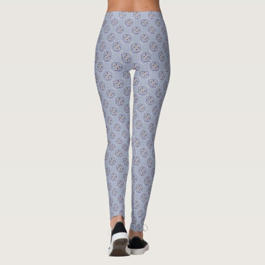 Purple Bloom on Blue Weave Leggings